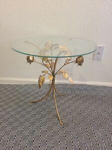 Vtg Mid Century Hollywood Regency Gold Gilt Rose Bush Glass Top Pedestal Table**