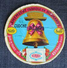 CAMEMBERT de NORMANDIE LA CLOCHE ancienne étiquette sur couvercle d'origine