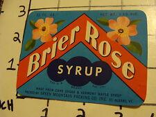 Vintage Original Label: BRIER ROSE SYRUP green mountain packing St. albans VT #2