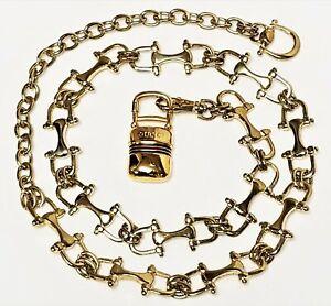 Vintage 1970's GUCCI Bridle Bit Gold Plated Adjustable BELT Hidden Box Charm