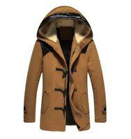 Wool Blend Winter Hooded New Mens Outwear Long Coat Zipper Duffel Toggle Jacket