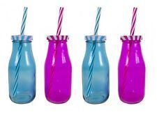Set Of 4 Mini Glass Milk Bottle Drinking Bottles 250ML Pink & Blue With Straws