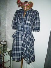 Warehouse blue peplum dress - Ditsy Vintage - Size 8 tartan