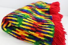 """Knitted Vintage Handmade Throw Lap Blanket Colorful Multi-Color Trim 77"""" x 41"""""""