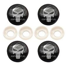 4 Black License Plate Frame Tag Screw Snap Cap Covers - PUNISHER SKULL BC047