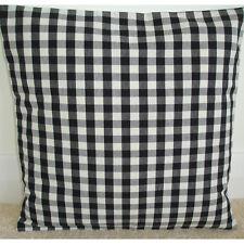 "16"" Cushion Cover Black Grey and Cream Gingham Tartan 16x16 Check Plaid"