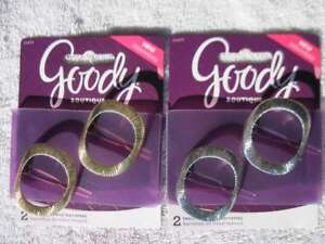 2 Goody Boutique Oval Textured Metal Hair Barrettes Secure Back Clips Stay Tight