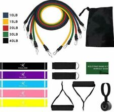 17 Pcs Resistance Bands Set With Door Anchor Home Gym Strength Fitness Stretch