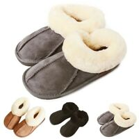 Womens Mens Winter Natural Sheepskin Fur Slippers Slip On Warm Wool Shoes US 5-8