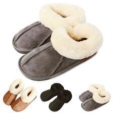2019 Womens Mens Winter Natural Sheepskin Fur Slippers Slip On Warm Wool Shoes