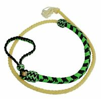 Showman 4.5ft Braided Nylon Over & Under Whip with Lasso End - GREEN & BLACK