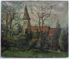 Peter Collins A.R.C.A. (1923-2001) Rural church landscape. Oil painting, Modern.