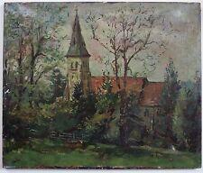 Peter Collins A.R.C.A. (1923-2001). Iglesia rural paisaje pintura al óleo, Moderno.