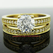 100% Genuine Solid 9K Yellow Gold Engagement Wedding Rings Set Simulated Diamond