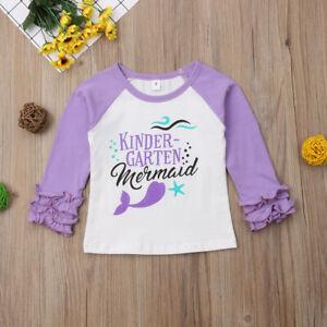 NEW Kindergarten Mermaid Girls Ruffle Sleeve Shirt Back to School 4T