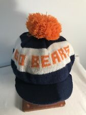 Vintage Chicago Bears Knit Hat Cap w/Pom Brim Snap/Stain Read
