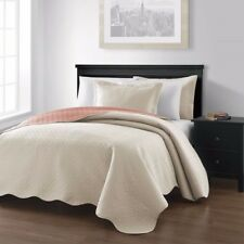 3-piece Ivory Salmon Pinsonic Quilted Reversible Bedspread Set King Size