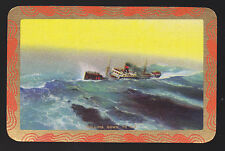 1 Single VINTAGE Swap/Playing Card EN SHIP at SEA 'ROLLING DOWN TO RIO RO-1-1-B'