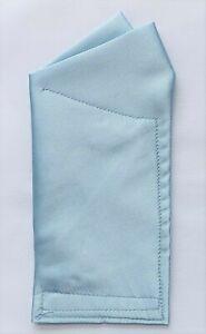 POCKET SQUARE Light Blue Satin 2 pt Wing - CUSTOM folded & sewn