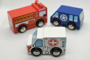 Thomas Wooden Fire Truck, Ambulance & Police Car lot