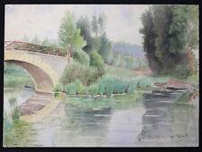 Félix BLARD (19e-20e) Pont de Laroche Nièvre T. rare aquarelle Nivernais