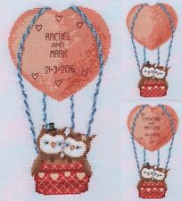 KL159 Up Up and Away Wedding or Anniversary Sampler Owls Cross Stitch Kit