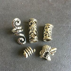 Dreadlock beads, dread beads, hair braid beard beads assorted 4.5mm - 7mm holes.