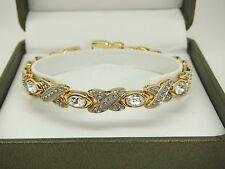 Womens Gold Colour Magnetic Bracelet Silver Gem Stones Gift Pouch Arthritis Aid