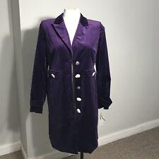 Women's SUTTON STUDIO Military Style Long Velvet Coat In Fig Size 10