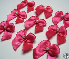 100 Hot Pink Satin Ribbon Bow w/ Pearl - Baby Craft