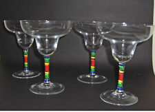 Crystal Margarita Glasses Set of 4 Hand Painted Stem First Quality 8oz.Size