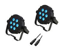 2 x Lanta Fireball PAR64s Plus 7 x 3W Tri LED Flat Par Uplighter Can DMX Light