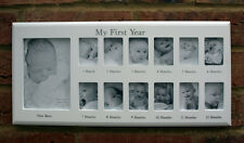 Baby My First Year 12 Month 13 Photo White Hanging Photo Frame Wall Wood New