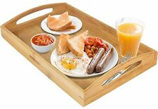 Wooden Serving Tray With Handles Food Wood Table Bamboo Trays Large Rectangular