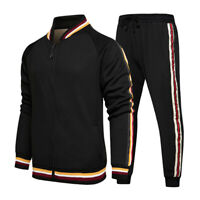 Herren Trainingsanzug 2 Stück Casual Hose Jacke Sweatsuit Hip Hop Sweatshirt Set