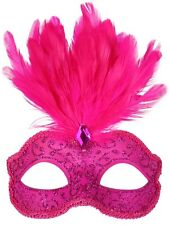 Hot Pink Glitter Face Eye Mask with Feathers Fancy Dress Venetian Masquerade