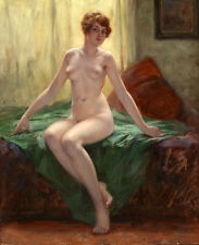 Wonderful Oil painting Beautiful shapely girl - fine model on bed canvas