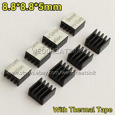20pcs 8.8x8.8x5mm Black Ram Heatsink Chipset Sink With Thermal Conductive Tape