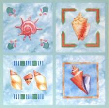 Sea Shells Seashell Tiles Bath 12 Tile Cover Stick Ups Appliques Instant Sticker