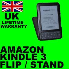 Black Flip Stand Cuero Funda Para Amazon Kindle 3