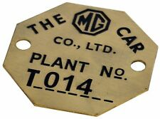 MG Car Company inventory tag in brass (reproduction)