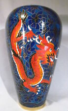 "Chinese Cloisonné Enamel 8""Blue and Red Dragon Vase"