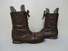 Steve Madden Troopa Brown Leather Zip Lace Combat Fashion Boots Size 8.5 M