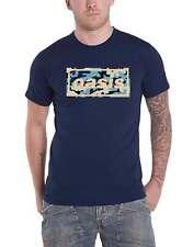 Oasis T Shirt Camo Band Logo new Official Mens Navy Blue