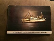 Metal relief post card of a STEAMSHIP on the Mississippi near Moline ILL. 1910