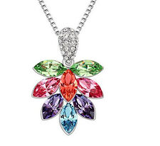 Womens Maple Leaf Multicolor Crystal Rhinestone Chain Pendant Necklace NEW ~!