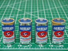 4 Vintage Eveready No 950 Size D Batteries Leakproof Flashlight Battery Blue Top