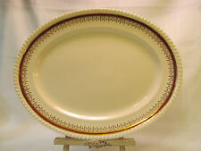 "Johnson Brothers Old English 1930s Oval Serving Platter 14"" Red Band Gold Trim"