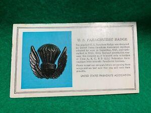 1970's Vintage US Parachute Association Badge On Original Card