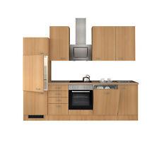 Küche mit Geschirrspüler Küchenzeile Einbauküche Elektrogeräte 280 cm buche